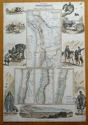SOUTH AMERICA, CHILE, BOLIVIA, PERU,  Fullarton antique map c1865
