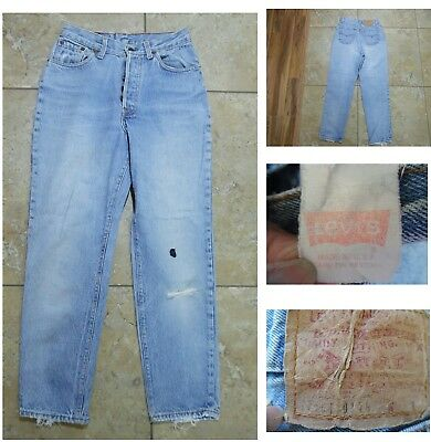 VTG LEVI 501 Distressed JEANS Classic Button-Fly Red Tab Blue Denim USA 28 X 28