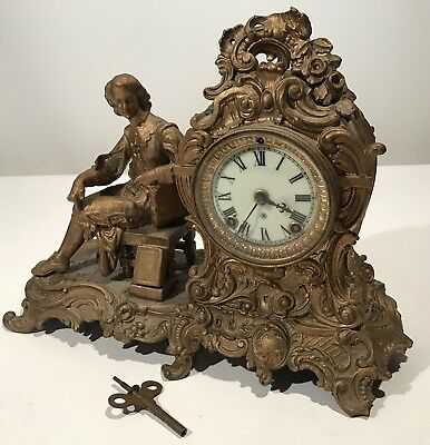 ANTIQUE FIGURAL CAST IRON ANSONIA OPEN ESCAPEMENT MANTEL SHELF CLOCK Read All!