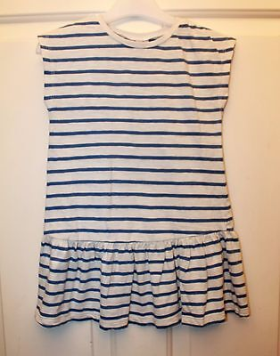 BNWT Next Girls Blue Light Grey Striped Dress size 4 years