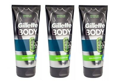 3 x Gillette BODY Non-Foaming Clear Shaving Gel 175ml Shave Gel - All Body Parts