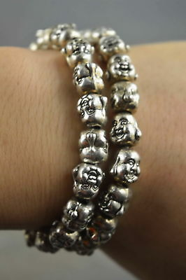 Collectible Handmade Old Miao Silver Carve Buddha Head Exorcism Usable Bracelet