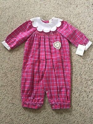 VTG Baby Girl Smocked Romper SZ 12 Month NWT 1984 Plaid Floral Embroidered