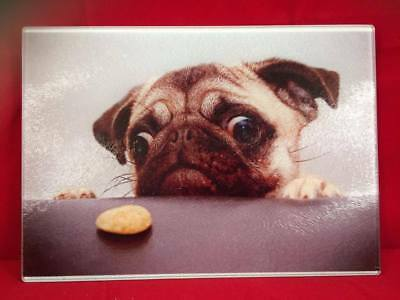 Funny, Novelty, Tempered glass chopping board, cat, dog, gift, Christmas, Pug