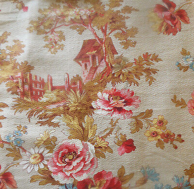 Antique French Country Cottage Roses Floral Cotton Fabric ~  Coral Pink Blue #2