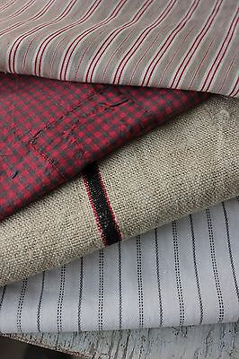 Vintage French fabrics antique material PROJECT BUNDLE stripes check lovely !!!