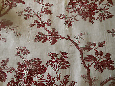 Antique French Botanical Floral Berry Toile Cotton Fabric ~ Madder Bordeaux