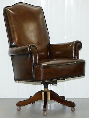 Executive Restored Hand Dyed Cigar Brown Leather Wing Back Captains Office Chair