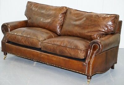 Rrp £2599 Timothy Oulton Balmoral Aged Brown Leather Sofa Feather Filled Cushion