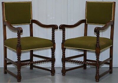 Pair Of Edwardian Walnut Barley Twist Green Velvet Upholstered Porters Chairs