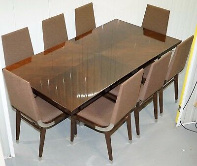 Rrp £20000 Kesterport American Walnut Extending Dining Table & 8 Chairs Seats 14