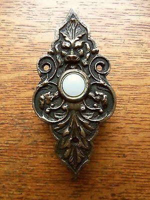 "New Victorian ""Lion & Hound"" Cast Brass Doorbell Push Button"