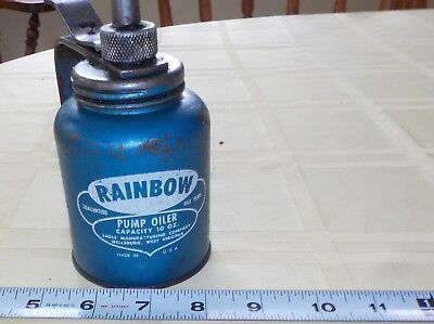 Vintage Eagle Rainbow Pump Oiler Can 10 Oz Eagle Oil Usa Wv