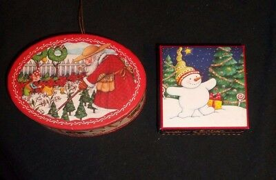 Mary Engelbreit Christmas boxes Snowman & Santa in garden