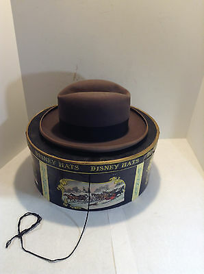 Vintage Disney Hat Box With Vintage Custom Made Wimbly Fedora Hat Size 7