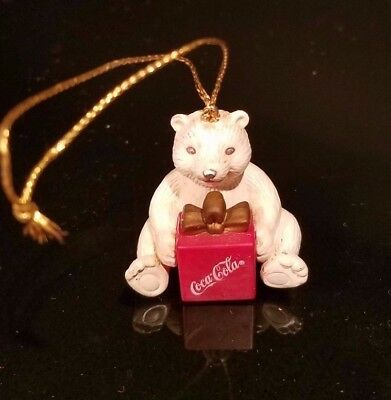 Vintage Christmas Miniature Coca Cola Bear With Present Ornament  1998 Tccc