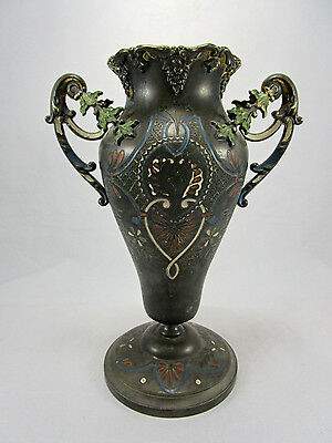 Antique 19thC Silverplate Pewter Enameled Highly Decorated Handled Vase Urn