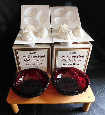 Avon 1876 Cape Cod Collection Ruby Red 2 Dessert Bowls with soaps New In Box