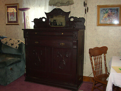 """Antique Folding bed dresser cabinet with mirror  original finish """"Murphy bed"""""""
