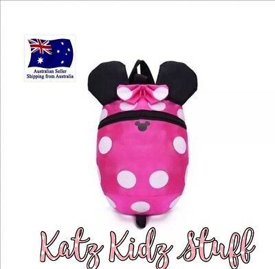 Minnie Mouse Kids Safety Harness Backpack With Removable Leash Aus Seller