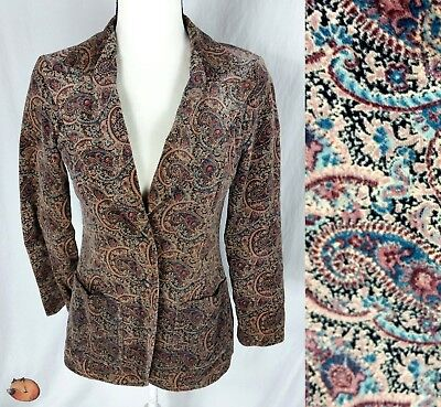 Vintage 70s Campus Casuals of California Velveteen Paisley Floral Blazer XS/S