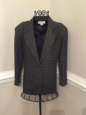 Vintage Christian Dior Women's 4 Green & Gray 100% Wool Checked Blazer Jacket