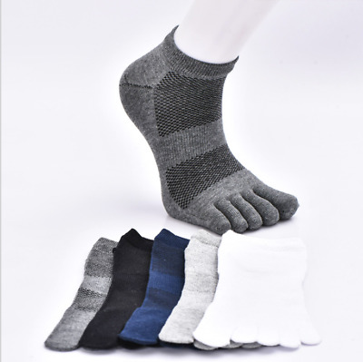 5 Pairs Mens Cotton Toe Five Finger Sports Socks Solid Ankle Breathable Low Cut