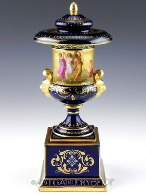Antique Royal Vienna VASE URN COBALT BLUE GOLD HANDPAINTED Artist Signed A. Heer