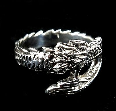 Handcrafted Solid 925 Sterling Silver Men's Medieval Biker DRAGON Band Ring