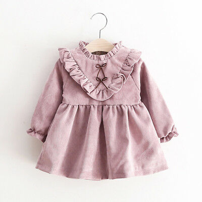 Toddler Kids Baby Sweet Girls Autumn Long Sleeve Princess Dress Outfits Clothes
