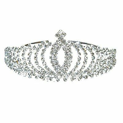 Diadem Silver Bride Bridesmaid Shining Rhinestone Crown Headband Tiara Wedding