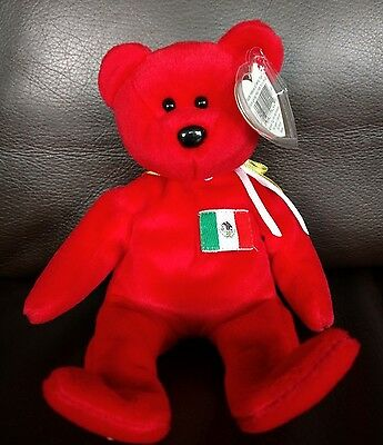 TY BEANIE BABY Osito Red Bear Tag Protector & Display Box/Case