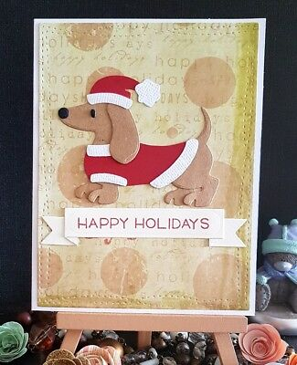 Handmade Christmas Card *Dachshund* *Happy Holidays*