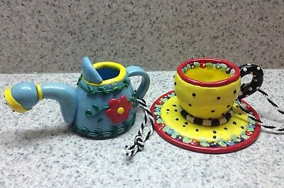 2 MARY ENGELBREIT Christmas  Ornaments - Cup/Saucer & Watering Can