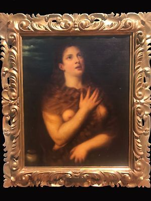 After Titian, Oil painting, Mary Magdalene, 18th XVIII Century, canvas religious