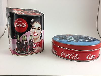 TWO COLLECTIBLE COCA-COLA TINS UNIQUE SHAPE WITH HINGED LID AND ROUND 1990s
