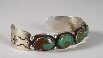 Old Pawn Navajo Sterling and Turquoise Bracelet - Native American Circa 1930's
