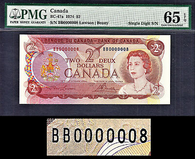 Canada 2 Dollars 1974 BC-47a Super LOW Serial BB 0000008 GEM UNC PMG 65 EPQ