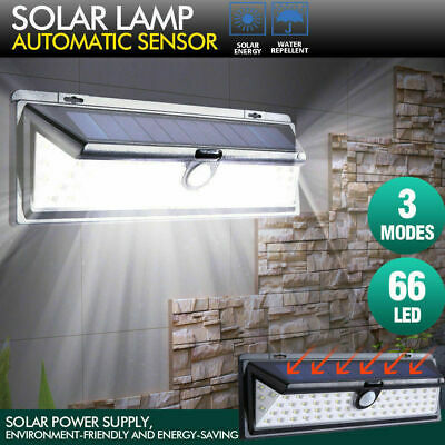 66LEDs Solar Powered Bright Led Wireless PIR Motion Sensor Security Wall Light