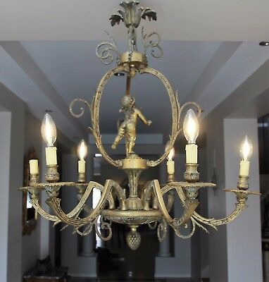 Magnificent Antique French Cast Bronze Six Arm Chandelier with Putto