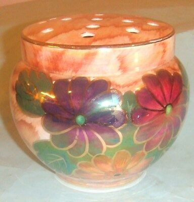 J. Fryer Old Court Ware Tunstall Lustre Flower Bowl With Frog Lid. Hand Painted.