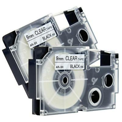 2pk Compatible for Casio XR-9X 9mm 8m Label Tape KL430 Laminated Black on Clear