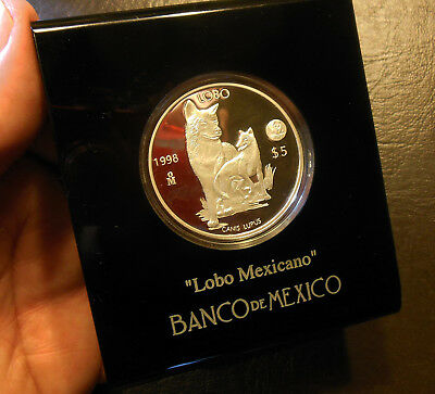 1998 Mexico 1 oz 5 pesos Lobo Mexicano Silver .999 Proof Coin