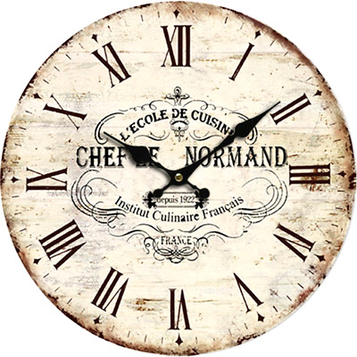 Large Indoor/Outdoor Wooden Decorative Vintage Rustic Country France Wall Clock