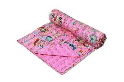Indian handmade Patch Work Double size kantha quilt Bedspread Blanket