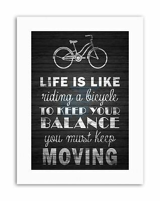 LIFE LIKE RIDING BICYCLE WOOD BW MOTIVATION Picture Quote Motivational Canvas