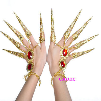 1Pair x 10 Fingers Avalokitesvara Indian Belly Dance Nail sets Bracelet Costume