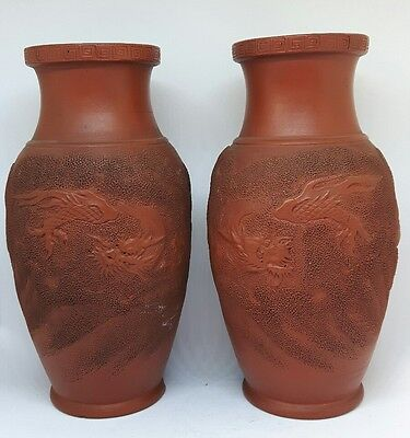 Pair Of Old Japanese Tokoname Redware Vases - Dragon In Clouds