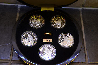 """2003 Lord of the Rings 5 Silver Proof Coin Set with the """"One Ring"""" - Isle of Man"""