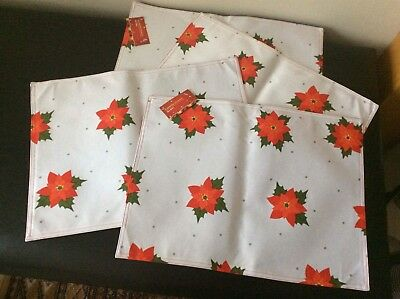 4 Red & White Good Quality Poinsettia Christmas Placemats Size 45x33cms New